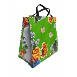 Shopper Mexican oilcloth chrysant green