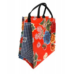 Shopper Mexican oilcloth chrysant orange