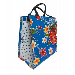 Shopper Mexican oilcloth fortin blue