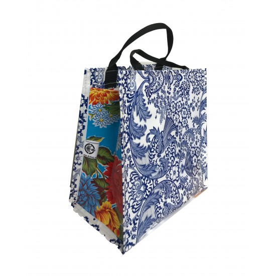 Shopper Mexican oilcloth paraiso blue