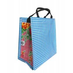 Shopper Mexican oilcloth pepita aqua