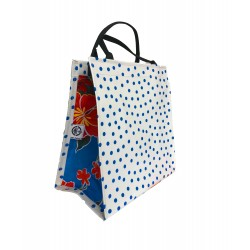 Shopper Mexican oilcloth polka blue