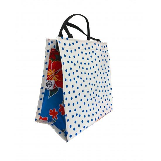 Shopper Mexican oilcloth polka blue