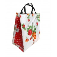 Shopper Mexican oilcloth rosedal white