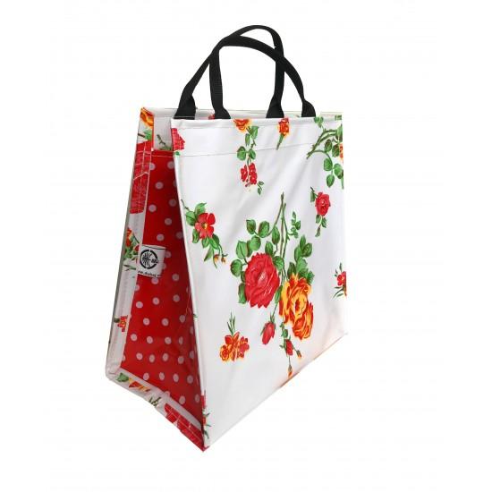 Shopper Mexican oilcloth rosedal white