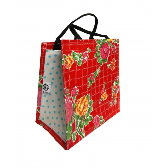 Shopper Mexican oilcloth rosedal red