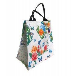 Shopper Mexican oilcloth butterfly white
