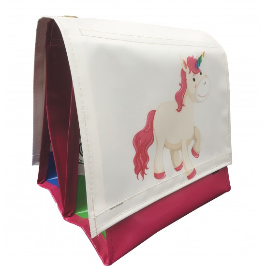 Double Children's Bicyclebag Unicorn Pink 18L