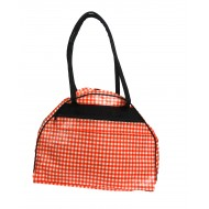Weekendbag Mexican oilcloth pepita orange