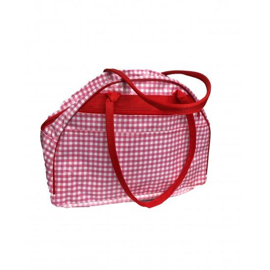 Weekendbag Mexican oilcloth pepita pink