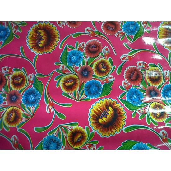 Mexican oilcloth floral hot pink - off the roll