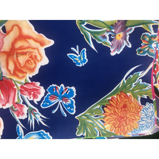 Mexican oilcloth butterfly dark blue - off the roll