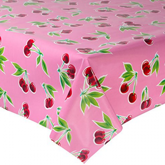 Mexican oilcloth cherry pink - off the roll