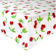 Mexican oilcloth cherry white - off the roll