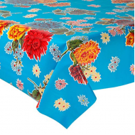 Mexican oilcloth chrysant aqua - off the roll