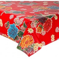 Mexican oilcloth chrysant red - off the roll
