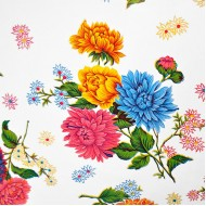 Mexican oilcloth chrysant white - off the roll