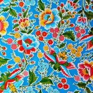 Mexican oilcloth fantacia blue - off the roll