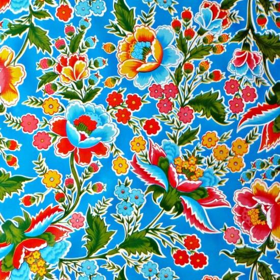 Mexican oilcloth fantacia blue - off the roll