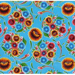 Mexican oilcloth floral aqua - off the roll