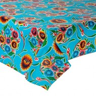 Mexican oilcloth floral aqua - off the roll