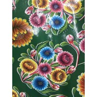 Mexican oilcloth floral green - off the roll