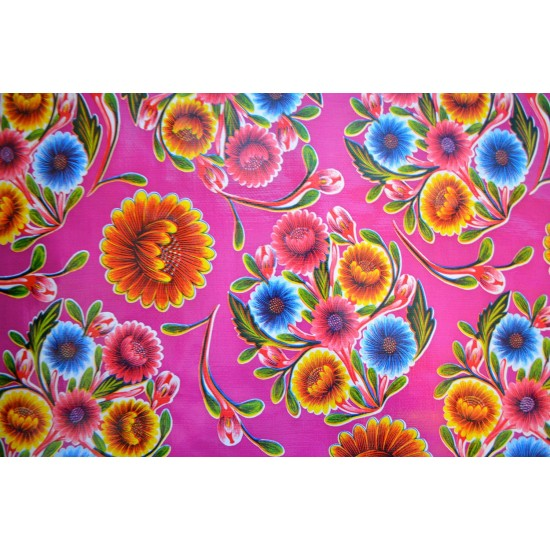 Mexican oilcloth floral purple - off the roll