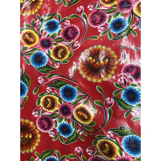 Mexican oilcloth floral red - off the roll