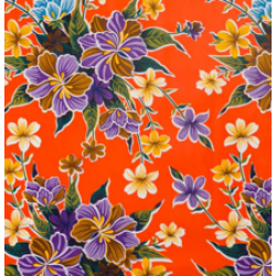 Mexican oilcloth fortin orange - off the roll
