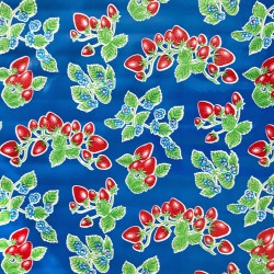 Mexican oilcloth fresas dark blue - off the roll