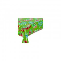 Mexican oilcloth fresas green - off the roll