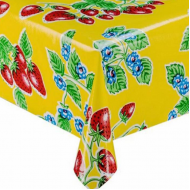 Mexican oilcloth fresas yellow - off the roll