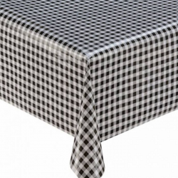 Mexican oilcloth pepita black - off the roll