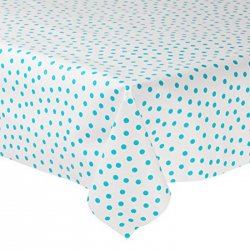 Mexican oilcloth polka baby blue - off the roll
