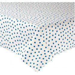 Mexican oilcloth polka blue - off the roll