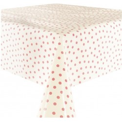 Mexican oilcloth polka pink on white - off the roll