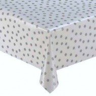 Mexican oilcloth polka silver - off the roll