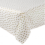 Mexican oilcloth polka gold - off the roll