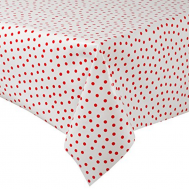 Mexican oilcloth polka red on white - off the roll