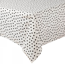 Mexican oilcloth polka white - off the roll