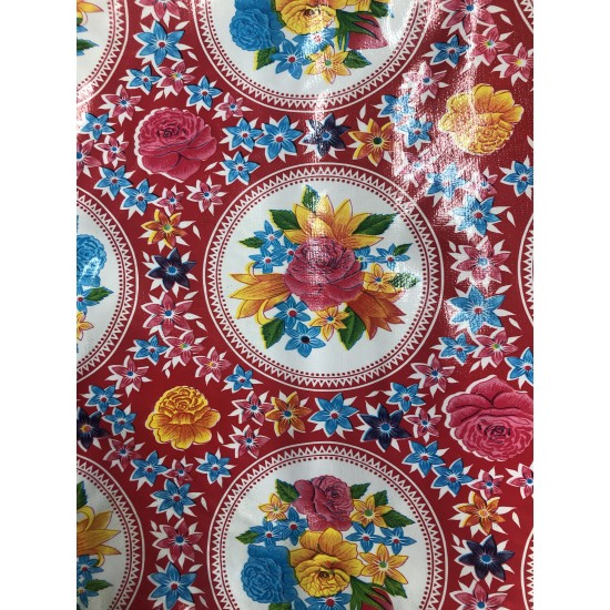 Mexican oilcloth rosario red - off the roll