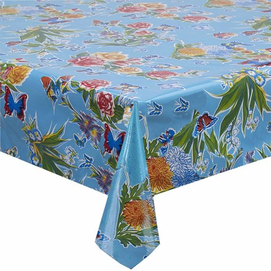 Mexican oilcloth butterfly light blue - off the roll